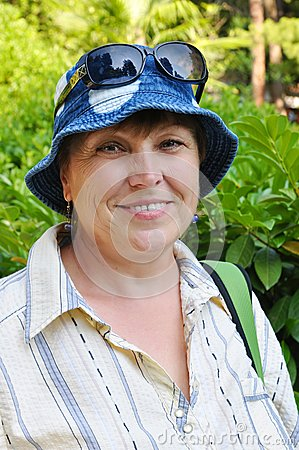 Middle-aged female tourist