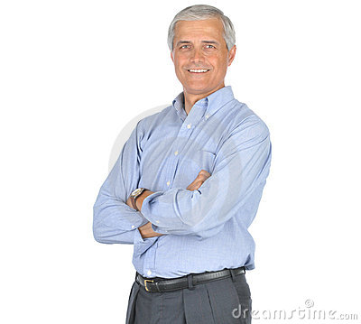 Middle Aged Man in Blue Shirt Arms Folded