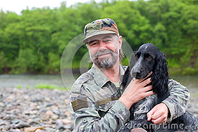 Middle aged man with a dog