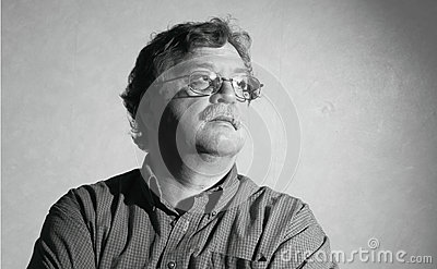 Middle aged man with glasses