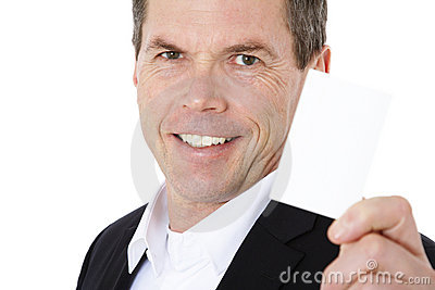 Middle-aged man holding blank calling card