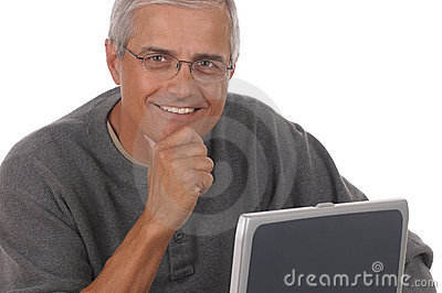 Middle Aged Man and Laptop