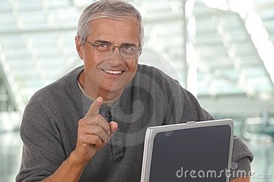Middle Aged Man Laptop Pointing