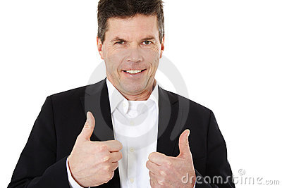 Middle aged man showing thumbs up