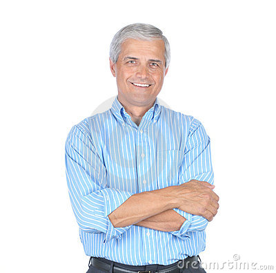 Middle aged Man in Striped Blue Shirt Arms Folded