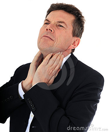 Middle aged man suffers from sore throat