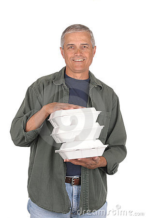 Middle Aged Man with Take out Food Containers