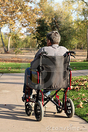 Middle-aged man in wheelchair
