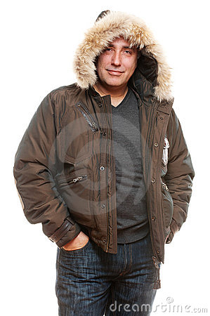 Middle aged man in winter coat