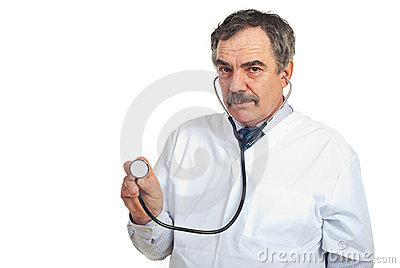 Middle aged physician man with stethoscope