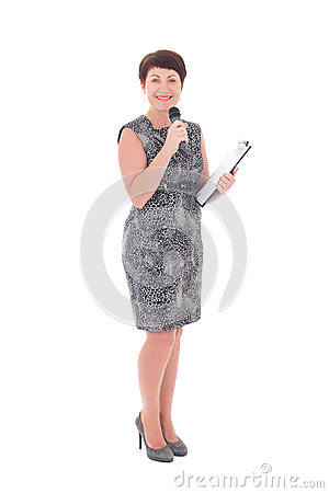middle aged reporter with microphone