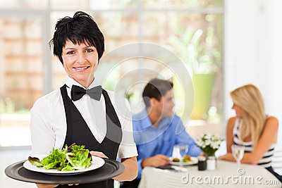 Middle aged waitress