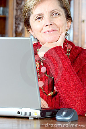 Free Middle-aged Woman And Notebook Royalty Free Stock Images - 2163389