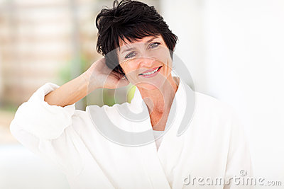 Middle aged woman bathrobe