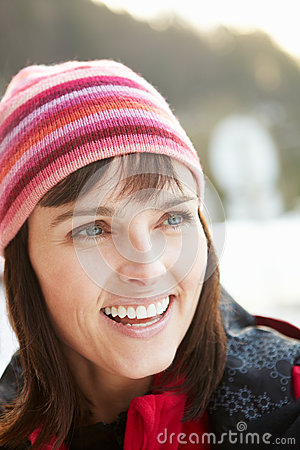 Middle Aged Woman Dressed For Cold Weather