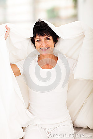 Middle aged woman duvet
