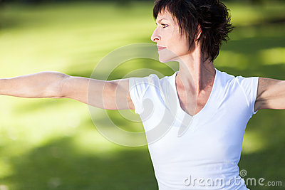 Middle aged woman exercise