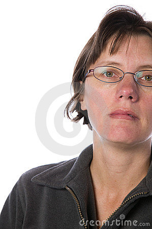 Middle aged woman isolated against white