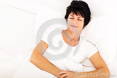Middle aged woman sleeping