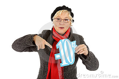Middle aged woman, ten percent discount sign