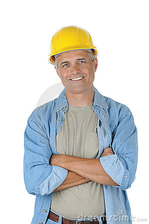 Middle aged Worker with his arms crossed