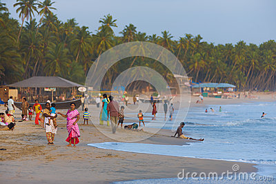 Middle Class Indian Tourists Goa Beaches Crowded Editorial Stock Photo