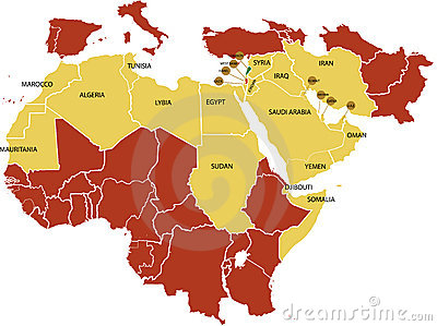 Middle East map .