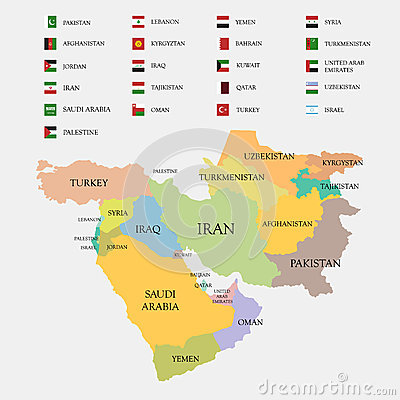 Middle East map and flags