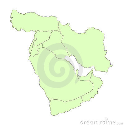 Middle east outline map