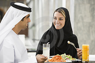Middle Eastern Couple Eating A Meal