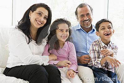Middle Eastern couple with their grandchildren