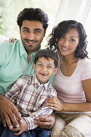 Middle Eastern couple with their son