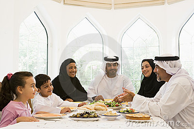 A Middle Eastern family enjoying