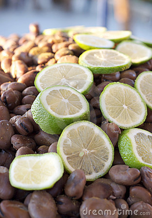 Middle Eastern food with beans and limes