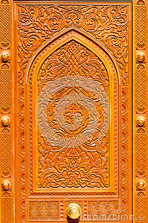 Middle Eastern Patterns On A Wooden Door Of Sultan Qaboos