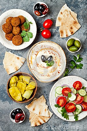 Free Middle Eastern Traditional Dinner. Authentic Arab Cuisine. Meze Party Food. Top View, Flat Lay, Overhead. Stock Photos - 108755233