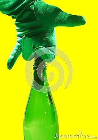 Middle Finger in Green Glass Bottle