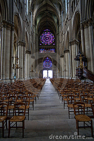 The middle pace in Notre Dame cathedral in Reims