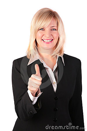 Middleaged woman gives gesture OK