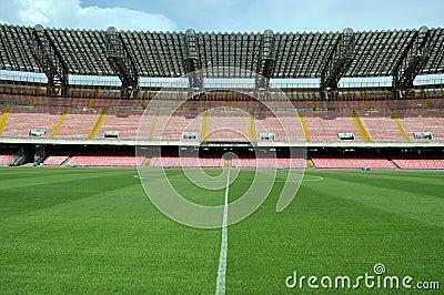 Midfield in soccer stadium
