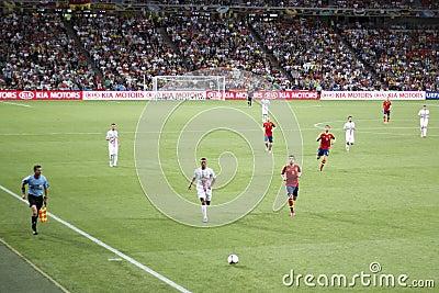 Midfielder Nani (in white) and defender Jordi Alba Editorial Image