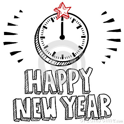 midnight clock new years eve sketch royalty free stock