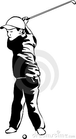 Miúdo que joga o golfe