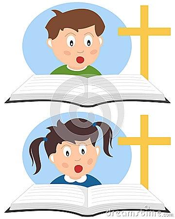 Miúdos cristãos que lêem um livro