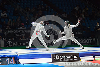 Midst of battle athletes on championship of world in fencing Editorial Image