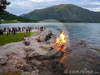 Midsummer bonfire in Norway Editorial Image