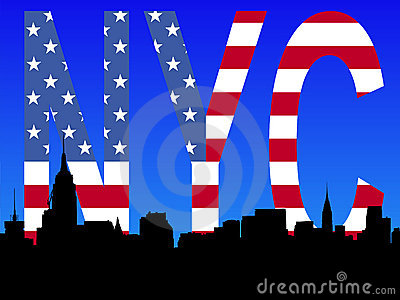 Midtown Manhattan with flag