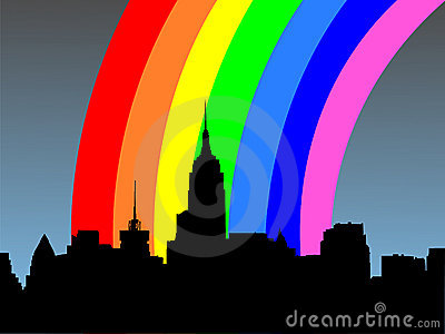 Midtown manhattan and rainbow