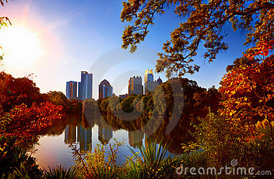 Midtown Reflection in Lake,  Atlanta