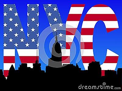 Midtown skyline with flag text